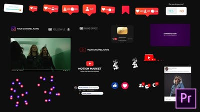 Social Media Elements - for Premiere Pro | Essential Graphics