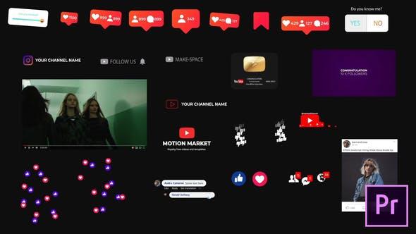 Элементы социальных сетей - для Premiere Pro   Важная графика
