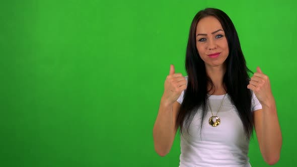Thumbnail for Young Pretty Woman Invites - Green Screen - Studio