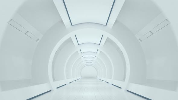 Thumbnail for White sci-fi tunnel, empty round room.