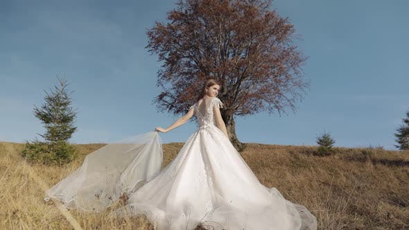Beautiful and Lovely Bride in Wedding Dress Near Beautiful Autumn Tree