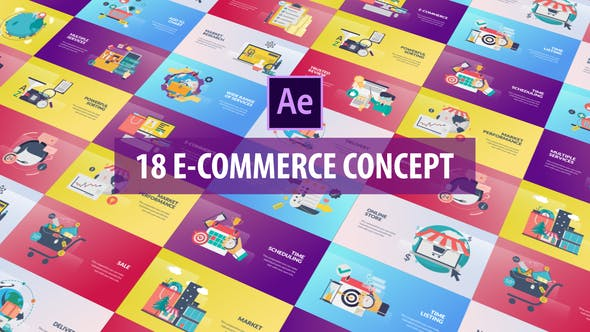 E-Commerce Concept - Flat Animation