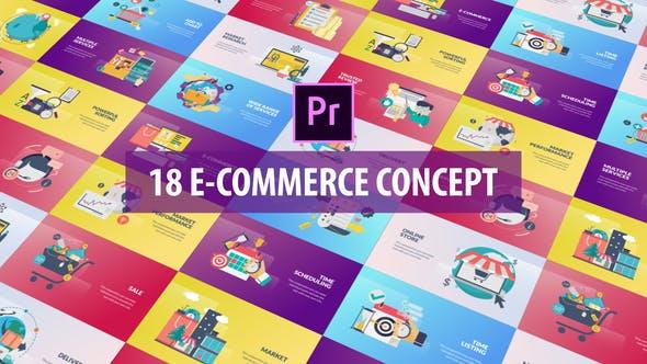 Thumbnail for E-Commerce Concept - Flat Animation (MOGRT)