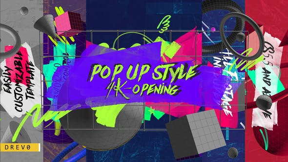 Cover Image for Pop UP Style Ouverture Bandes/Brosse/Action Promotion/Grunge/Formes 3D/ Titles Modernes/Youtube Blog I TV