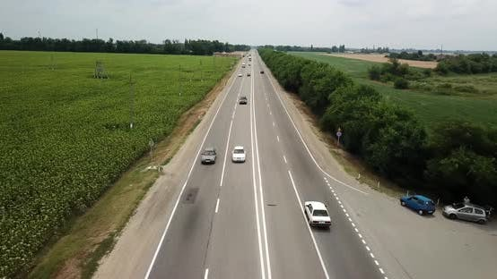 Thumbnail for Aerial Fly Over Motorway Freeway Traffic Trucks and Cars on the Road