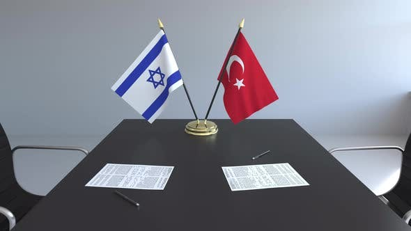 Thumbnail for Flags of Israel and Turkey and Papers on the Table