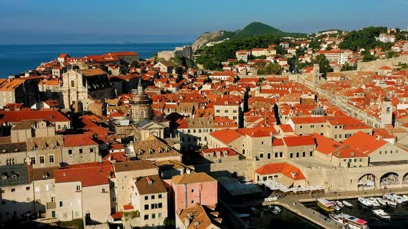 Thumbnail for Drone over the city wall and Dubrovnik Old Town.