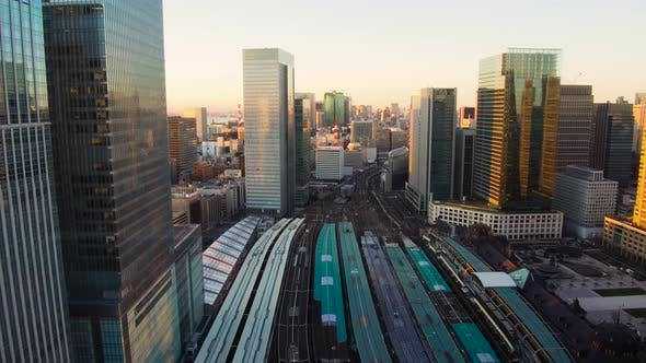 Thumbnail for View of Railway Station in Tokyo City in Japan
