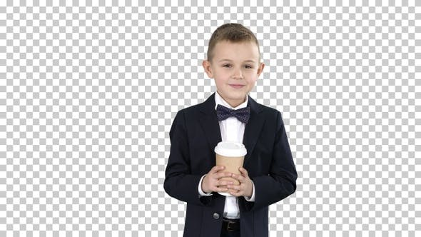 Thumbnail for Boy Walking with A Take Away Coffee In, Alpha Channel