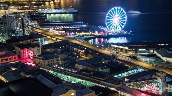 Thumbnail for Seattle Downtown Night Time Lapse With Abstract Motion