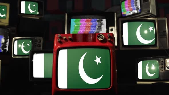 Thumbnail for Flags of Pakistan and retro TVs.
