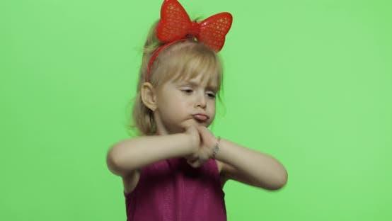 Thumbnail for Girl in Purple Dress Dancing. Happy Child. Chroma Key