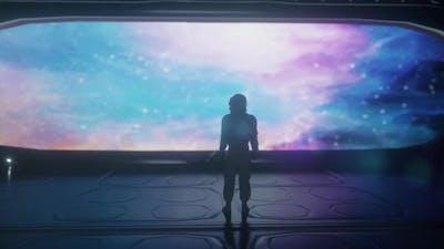 Alone Astronaut in Futuristic Spaceship Room