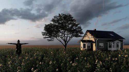 Rainy Weather Farmhouse and Scarecrow