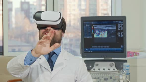 Thumbnail for Bearded Male Doctor Using 3d Vr Glasses at the Hospital
