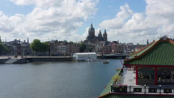 Thumbnail for Riverside and Basilica of Saint Nicholas, Amsterdam with Asian Building in Foreground, Aerial