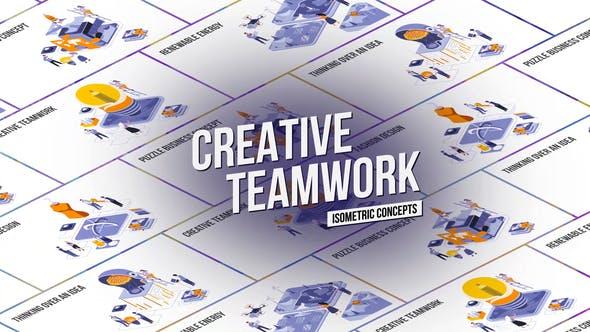 Creative Teamwork - Isometric Concept
