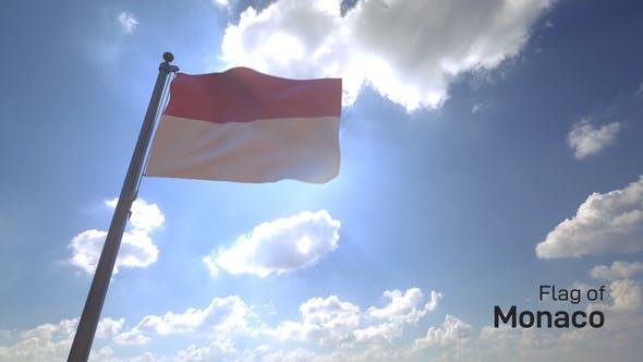 Thumbnail for Monaco Flag on a Flagpole V4