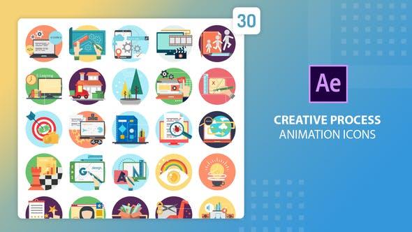 Thumbnail for Íconos de animación de procesos creativos | After Effects