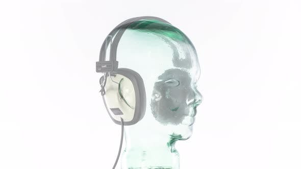 mannequin music headphones retro vintage disco party head glass