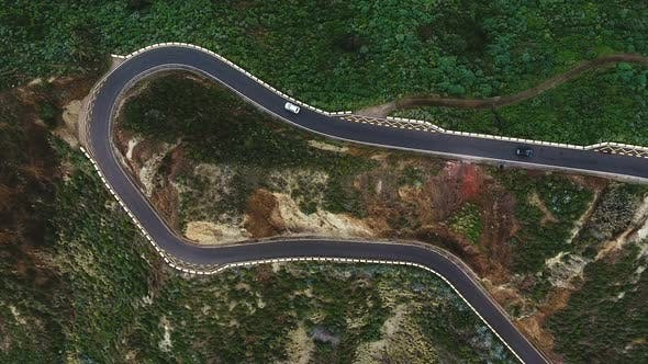 Aerial Of Curved Mountain Road