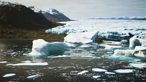 Antarctic Icebergs Near Rocky Beach