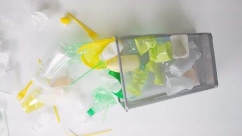 Smashed Trash Bin With Plastic