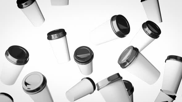 Thumbnail for Falling Disposable Beverage Cups On a Bright White Background