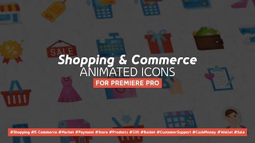 Shopping and Commerce Modern Flat Animated Icons - Mogrt
