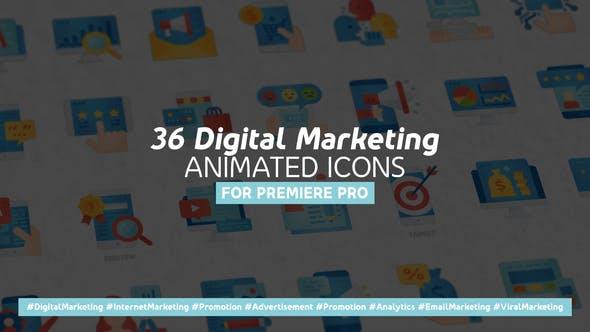 Thumbnail for Marketing numérique Icones plates animées modernes - Mogrt