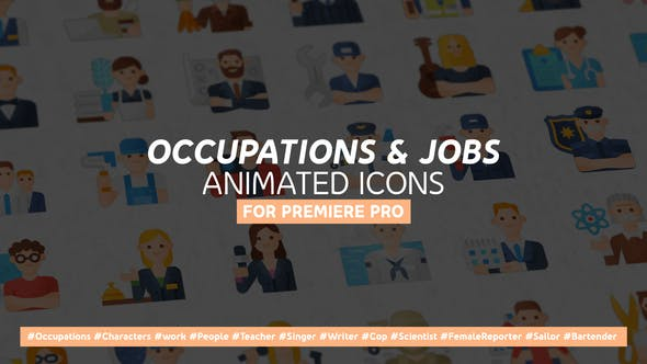 Occupations & Jobs Modern Flat Animated Icons - Mogrt