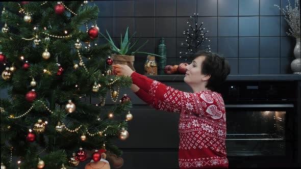 Christmas spirit, holidays and celebrations concept. Christmas tree with ball toys