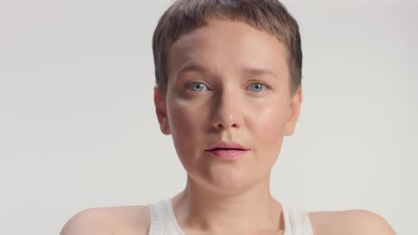 Thumbnail for Caucasian Blue Eyed Model Alone in Studio Portrait