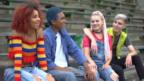 Modern Young People in Trendy Clothes Having Fun Together, Urban Subculture