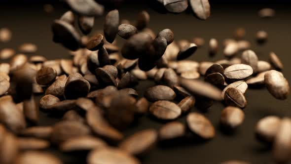 Falling Coffee Beans in Slow Motion