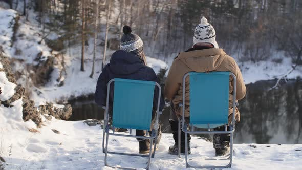 Thumbnail for Coupe Camping by Pond in Winter