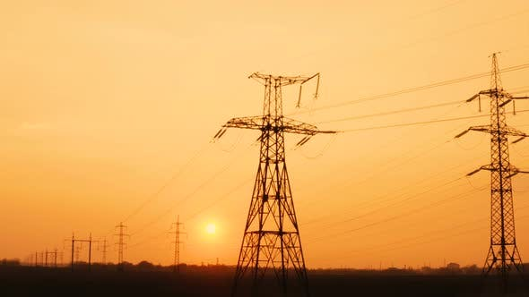 High Voltage Power Lines At The Sunset Time 3