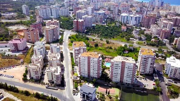Top view of resort town