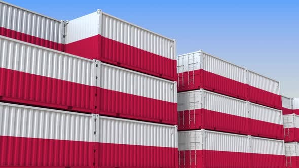 Thumbnail for Container Yard Full of Containers with Flag of Poland