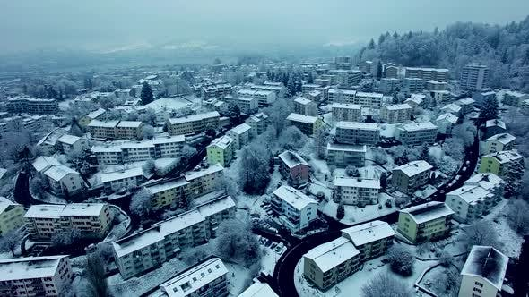 Thumbnail for Aerial View of Village Houses at Winter Snow Season