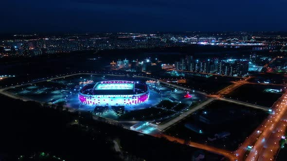 Freeway Intersection and Football Stadium Spartak Moscow Otkritie Arena