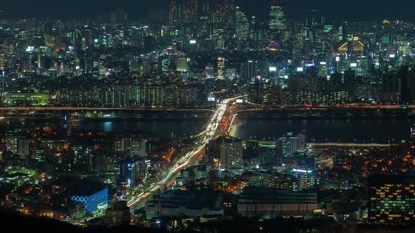 Thumbnail for Timelapse Modern Seoul Overpass Road with Illumination
