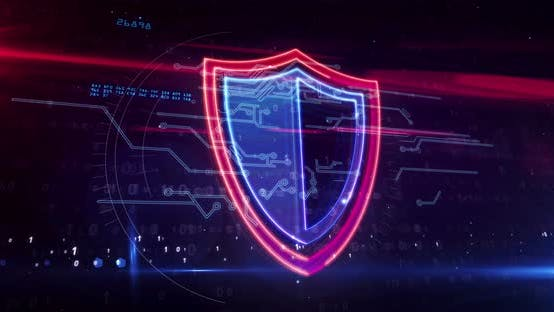 Shield cyber security symbol abstract loopable animation