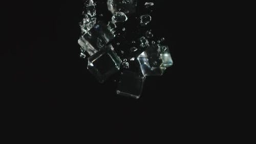 Ice Cubes Fall In Water