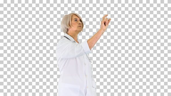 Thumbnail for Elder female doctor pressing a buttons, Alpha Channel