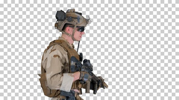 US Army ranger in uniform and weapon walking, Alpha Channel