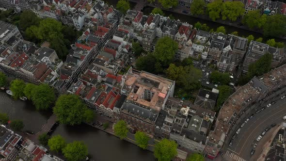 Thumbnail for Birds Eye View of Typical Amsterdam, Netherlands Neighbourhood with Canals and Bridges