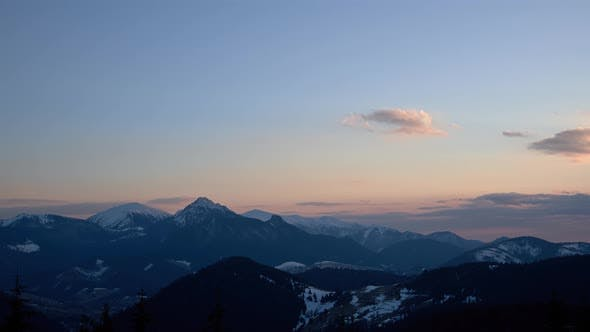 Colorful dusk over mountain landscape