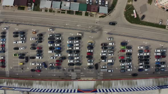 Aerial Drone View From Drone of Parking Lot of the Business Center Shopping Mall Supermarket with