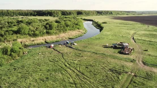 Thumbnail for The Unit Pumps Water From The River To Irrigate The Field